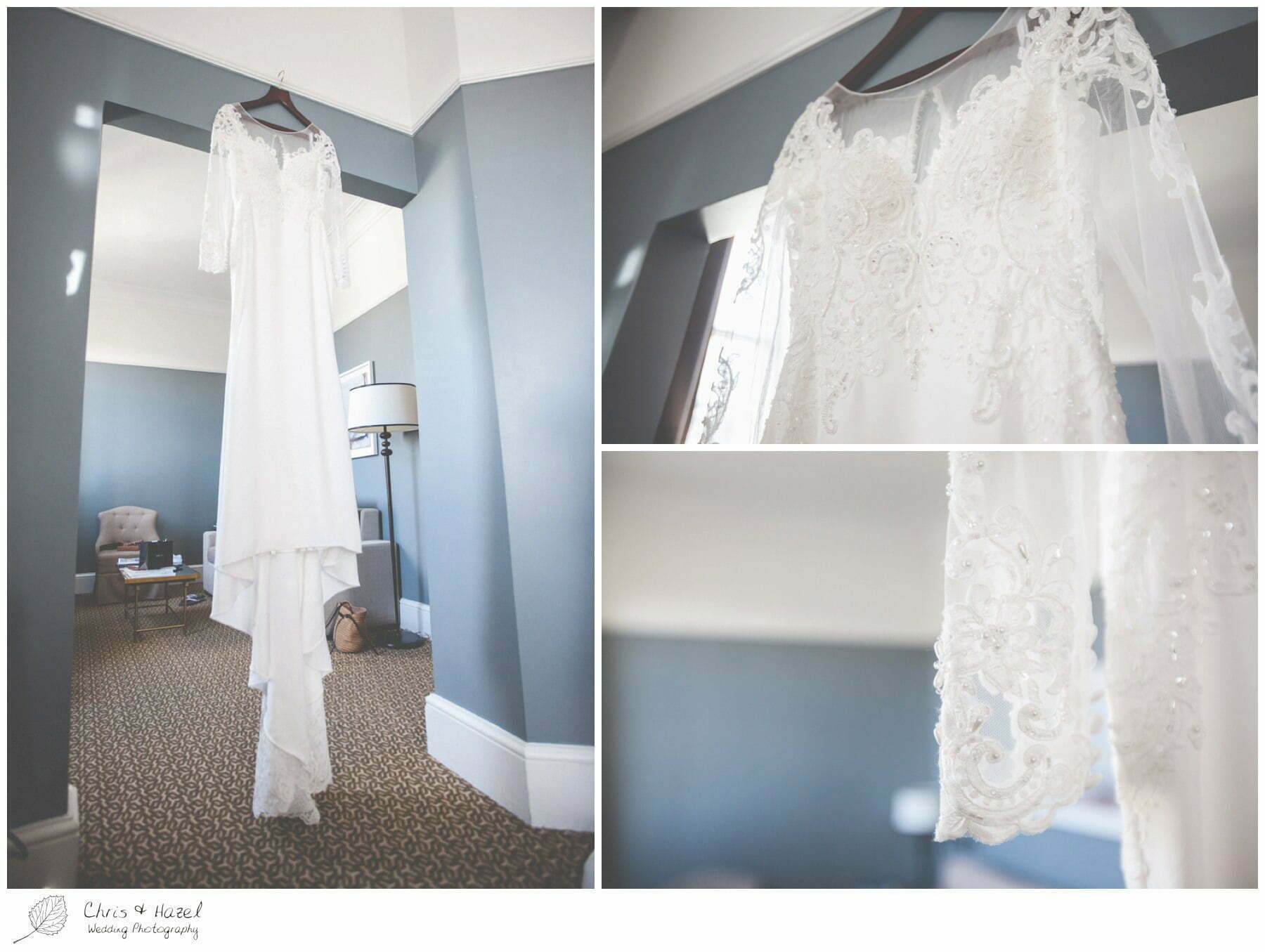 Wedding Dress hanging up, Wedding preparations, The Gainsborough Bath Spa hotel, Gainsborough Hotel Bath, documentary wedding photography, Chris and Hazel Wedding Photography Bath, Andy Frost Sian Upson