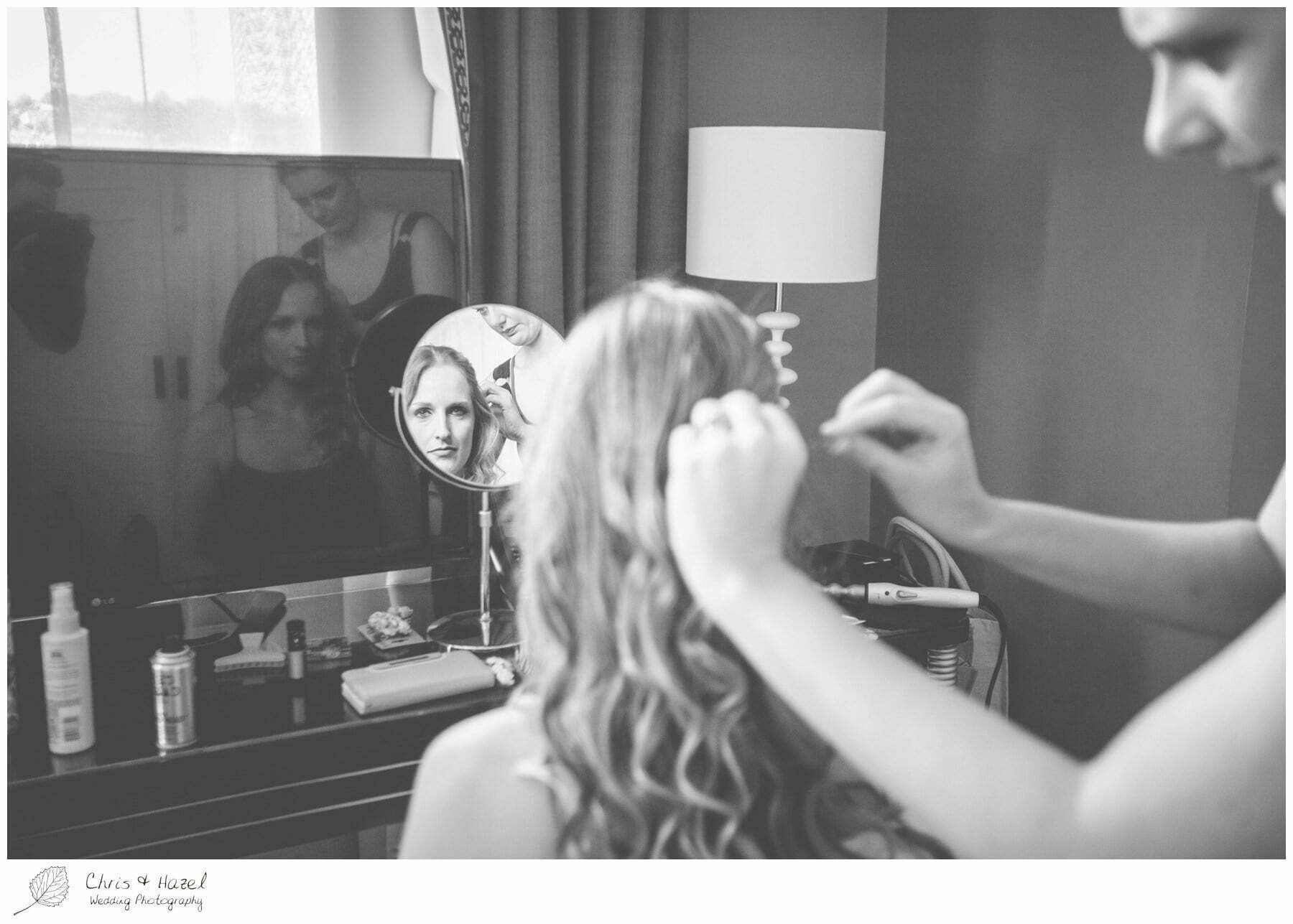 Bridal Hair and make up, Wedding preparations, The Gainsborough Bath Spa hotel, Gainsborough Hotel Bath, documentary wedding photography, Chris and Hazel Wedding Photography Bath, Andy Frost Sian Upson