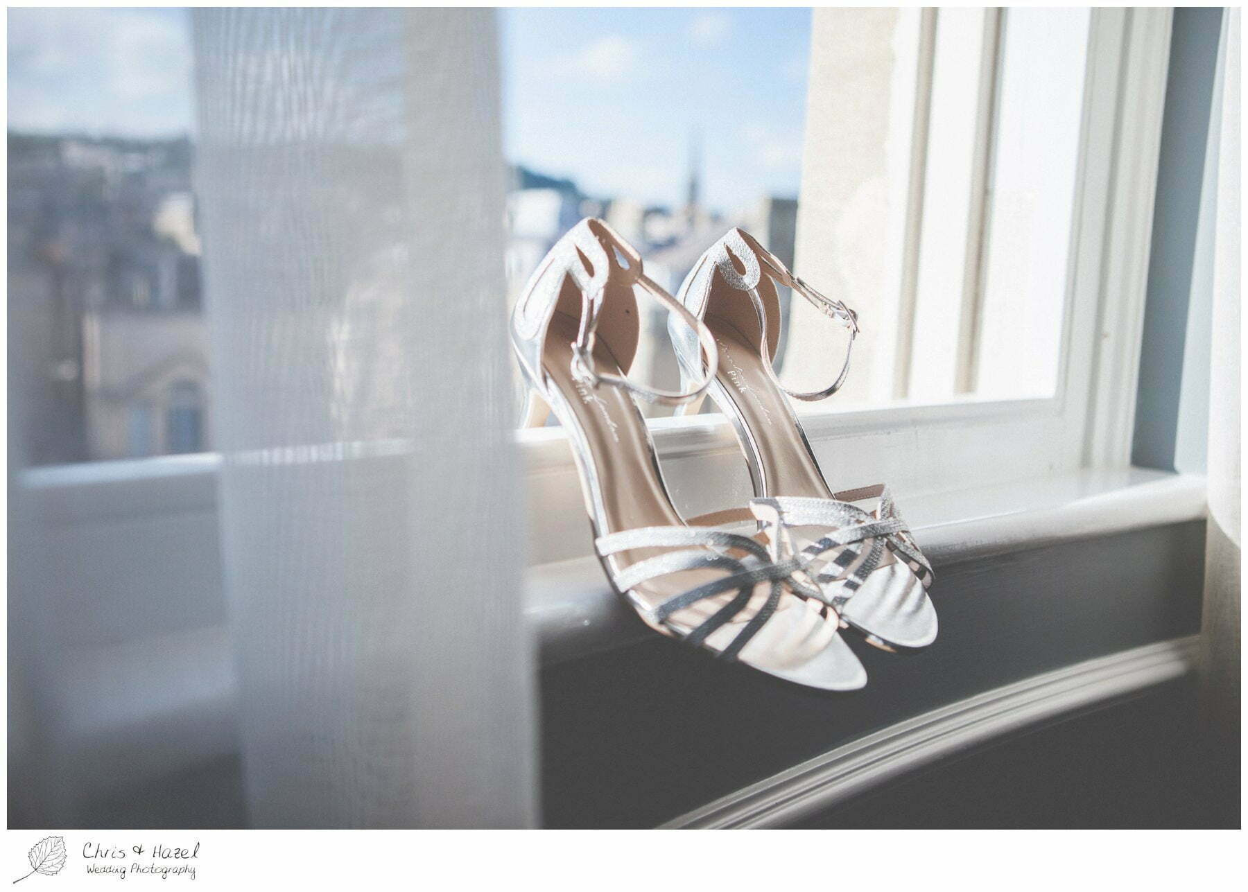 Bridal shoes, silver, wedding details, Wedding preparations, The Gainsborough Bath Spa hotel, Gainsborough Hotel Bath, documentary wedding photography, Chris and Hazel Wedding Photography Bath, Andy Frost Sian Upson