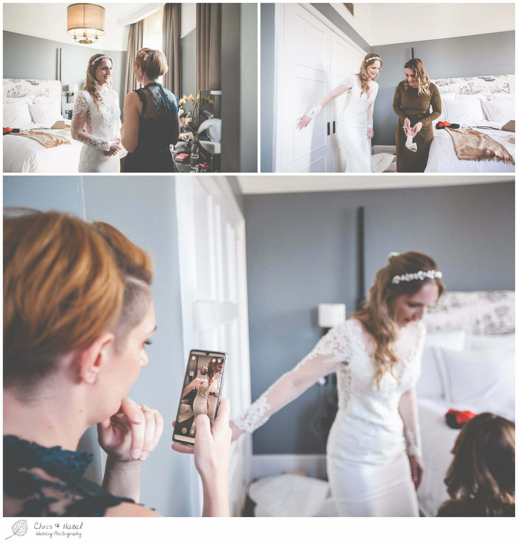 Bride getting ready, Wedding preparations, The Gainsborough Bath Spa hotel, Gainsborough Hotel Bath, documentary wedding photography, Chris and Hazel Wedding Photography Bath, Andy Frost Sian Upson