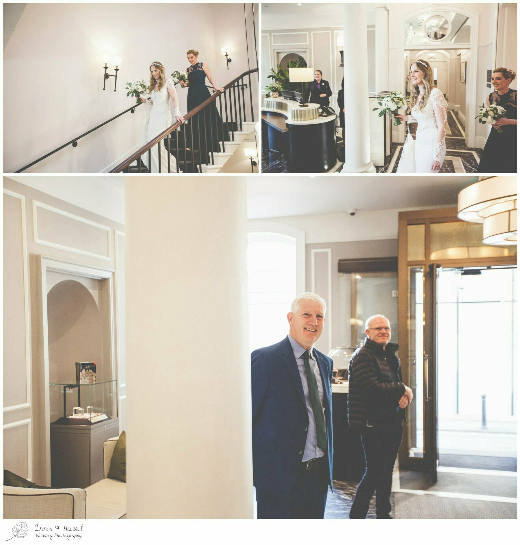Father of Bride seeing Bride for first time, Wedding preparations, The Gainsborough Bath Spa hotel, Gainsborough Hotel Bath, documentary wedding photography, Chris and Hazel Wedding Photography Bath, Andy Frost Sian Upson