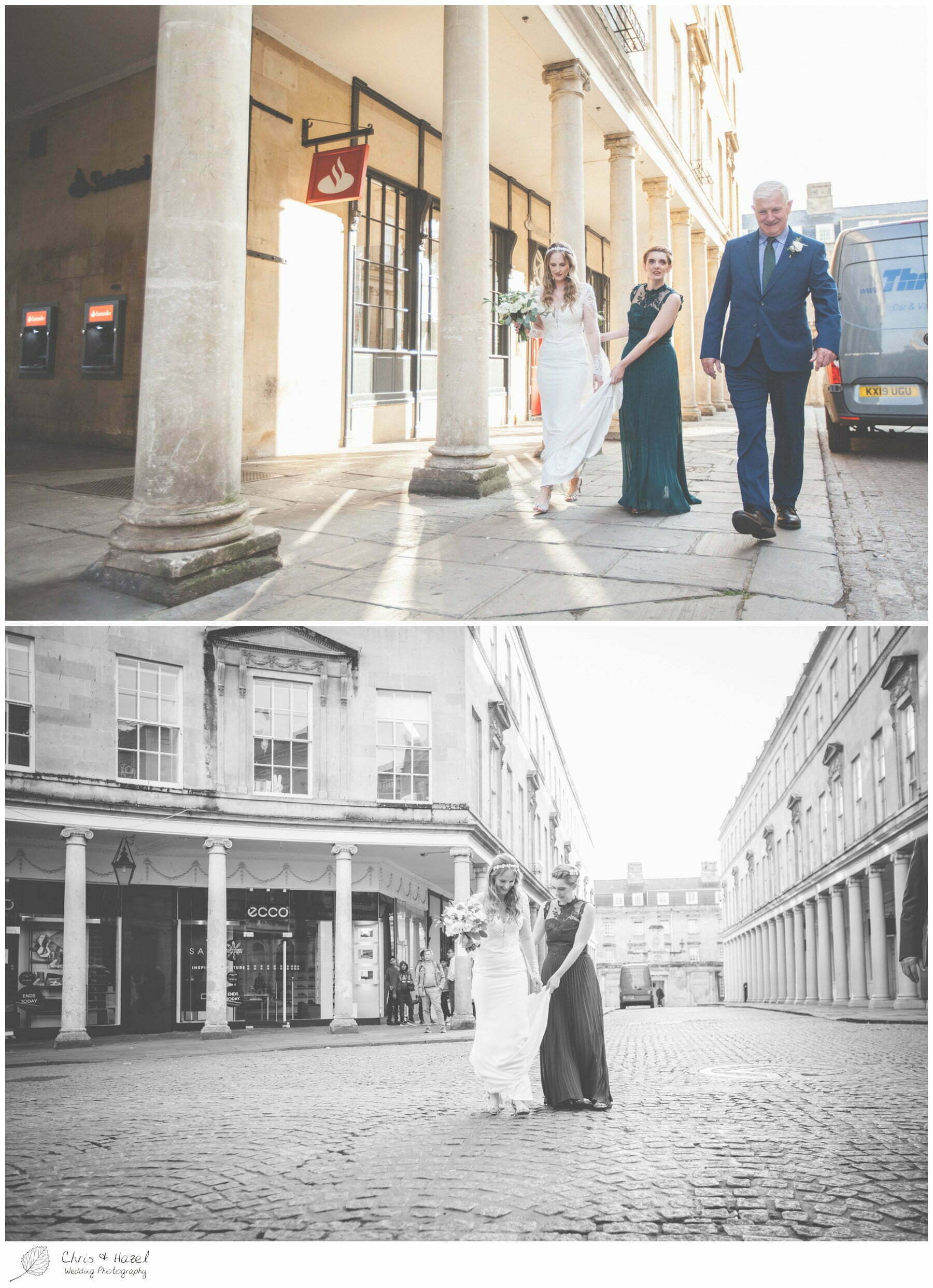 Bride walking down cobbled street with father bath, The Roman Baths Wedding Photography, Roman Baths Wedding Photographer, Wedding in Bath, Bath Wedding Day, documentary wedding photography, Chris and Hazel Wedding Photography Bath, Andy Frost Sian Upson
