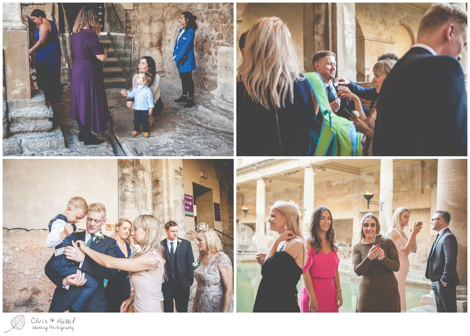 Wedding Guests arriving at Roman Baths Pump Rooms, The Roman Baths Wedding Photography, Roman Baths Wedding Photographer, Wedding in Bath, Bath Wedding Day, documentary wedding photography, Chris and Hazel Wedding Photography Bath, Andy Frost Sian Upson