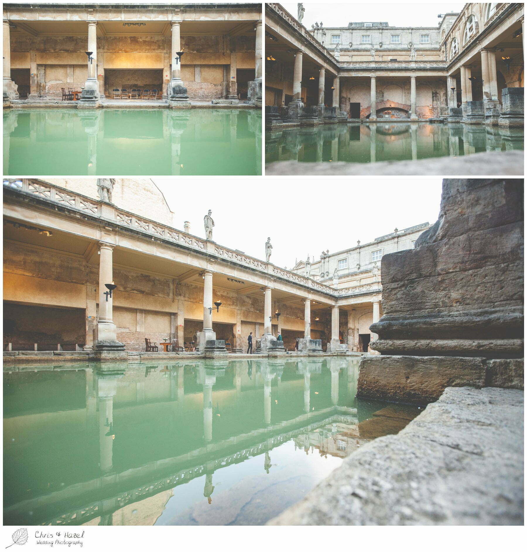 Roman Baths water architecture spa, The Roman Baths Wedding Photography, Roman Baths Wedding Photographer, Wedding in Bath, Bath Wedding Day, documentary wedding photography, Chris and Hazel Wedding Photography Bath, Andy Frost Sian Upson