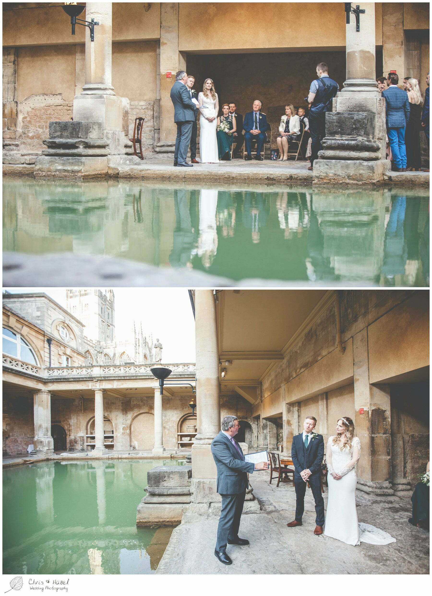 Bride and Groom Wedding Ceremony at Roman Baths Pump Rooms, Bath Abbey, The Roman Baths Wedding Photography, Roman Baths Wedding Photographer, Wedding in Bath, Bath Wedding Day, documentary wedding photography, Chris and Hazel Wedding Photography Bath, Andy Frost Sian Upson