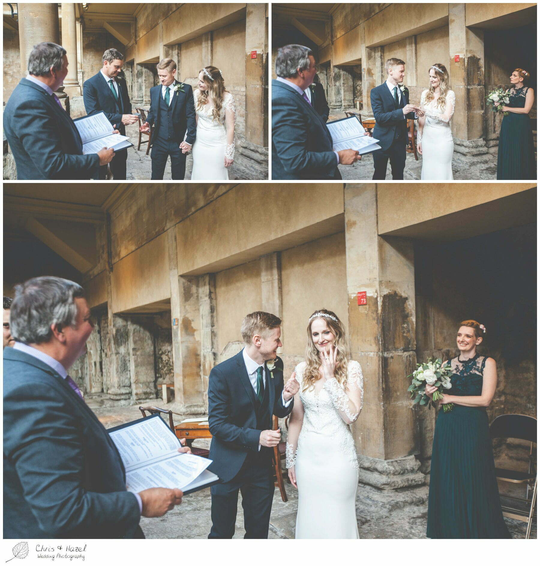 Ring Exchange vows Bride and Groom Wedding Ceremony at Roman Baths Pump Rooms, The Roman Baths Wedding Photography, Roman Baths Wedding Photographer, Wedding in Bath, Bath Wedding Day, documentary wedding photography, Chris and Hazel Wedding Photography Bath, Andy Frost Sian Upson