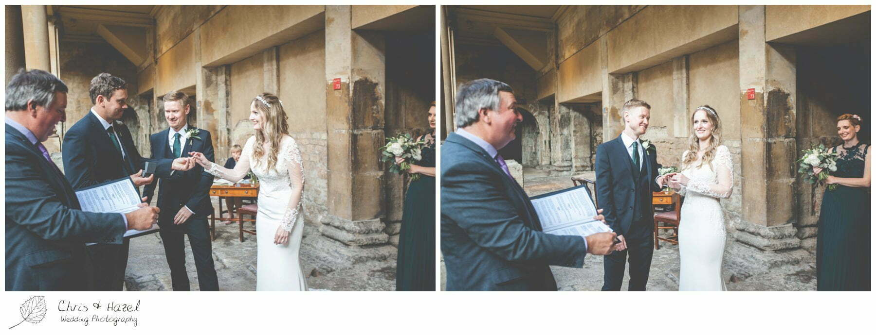 Bride and Groom Wedding Ceremony at Roman Baths Pump Rooms, The Roman Baths Wedding Photography, Roman Baths Wedding Photographer, Wedding in Bath, Bath Wedding Day, documentary wedding photography, Chris and Hazel Wedding Photography Bath, Andy Frost Sian Upson