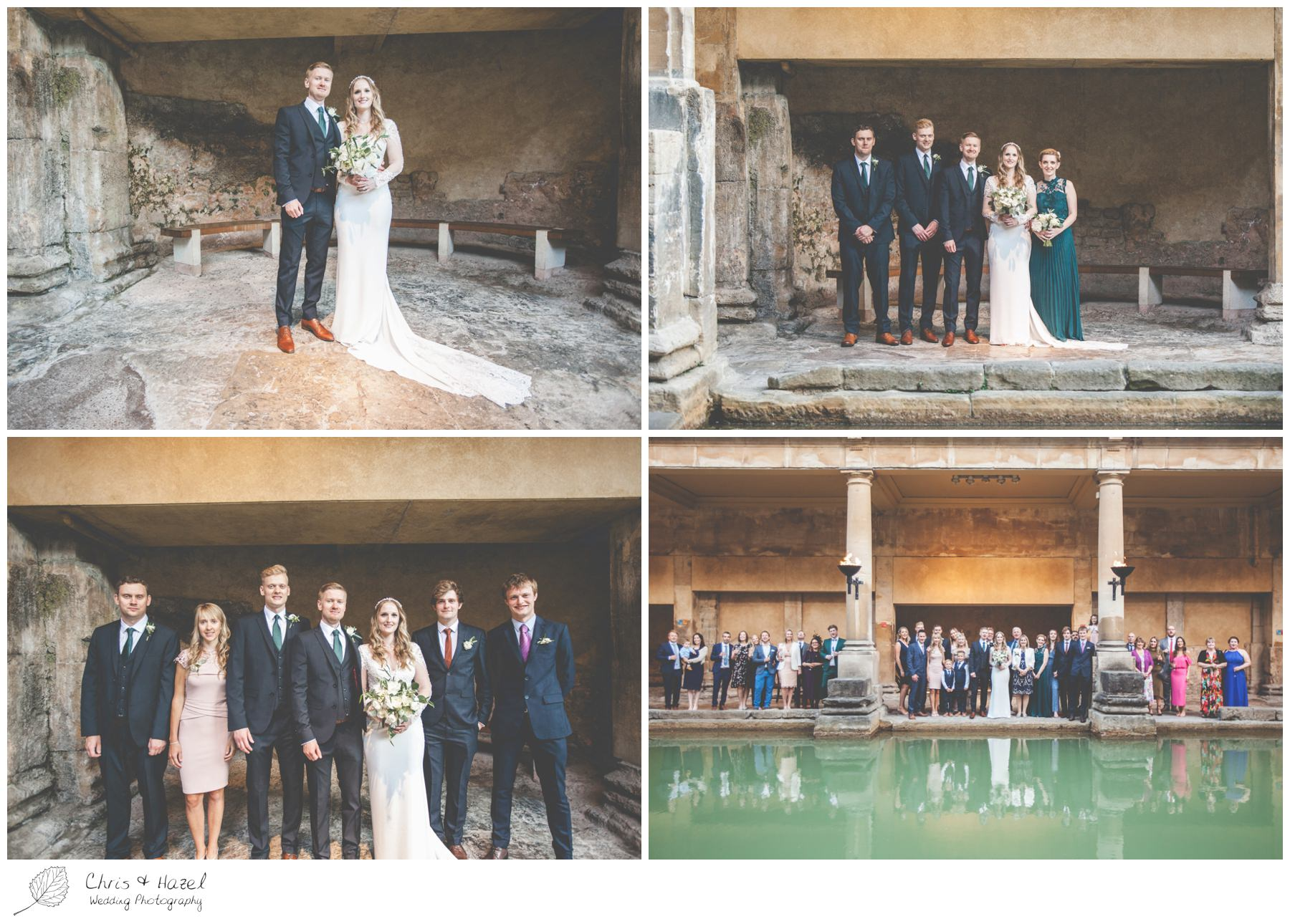 Bride and Groom portrait, family formal photographs at Roman Baths Pump Rooms, The Roman Baths Wedding Photography, Roman Baths Wedding Photographer, Wedding in Bath, Bath Wedding Day, documentary wedding photography, Chris and Hazel Wedding Photography Bath, Andy Frost Sian Upson