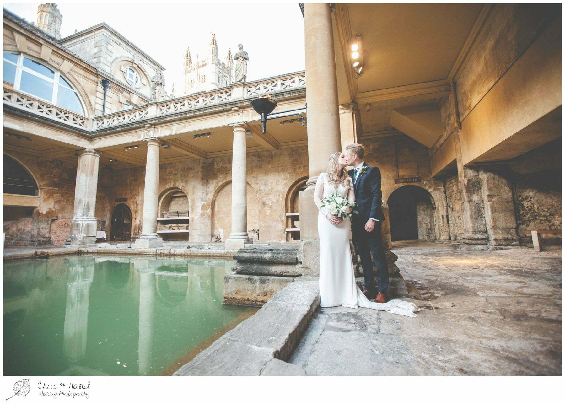 Bath Abbey, Bride and Groom portrait, bride and groom wedding photographs at Roman Baths Pump Rooms, The Roman Baths Wedding Photography, Roman Baths Wedding Photographer, Wedding in Bath, Bath Wedding Day, documentary wedding photography, Chris and Hazel Wedding Photography Bath, Andy Frost Sian Upson