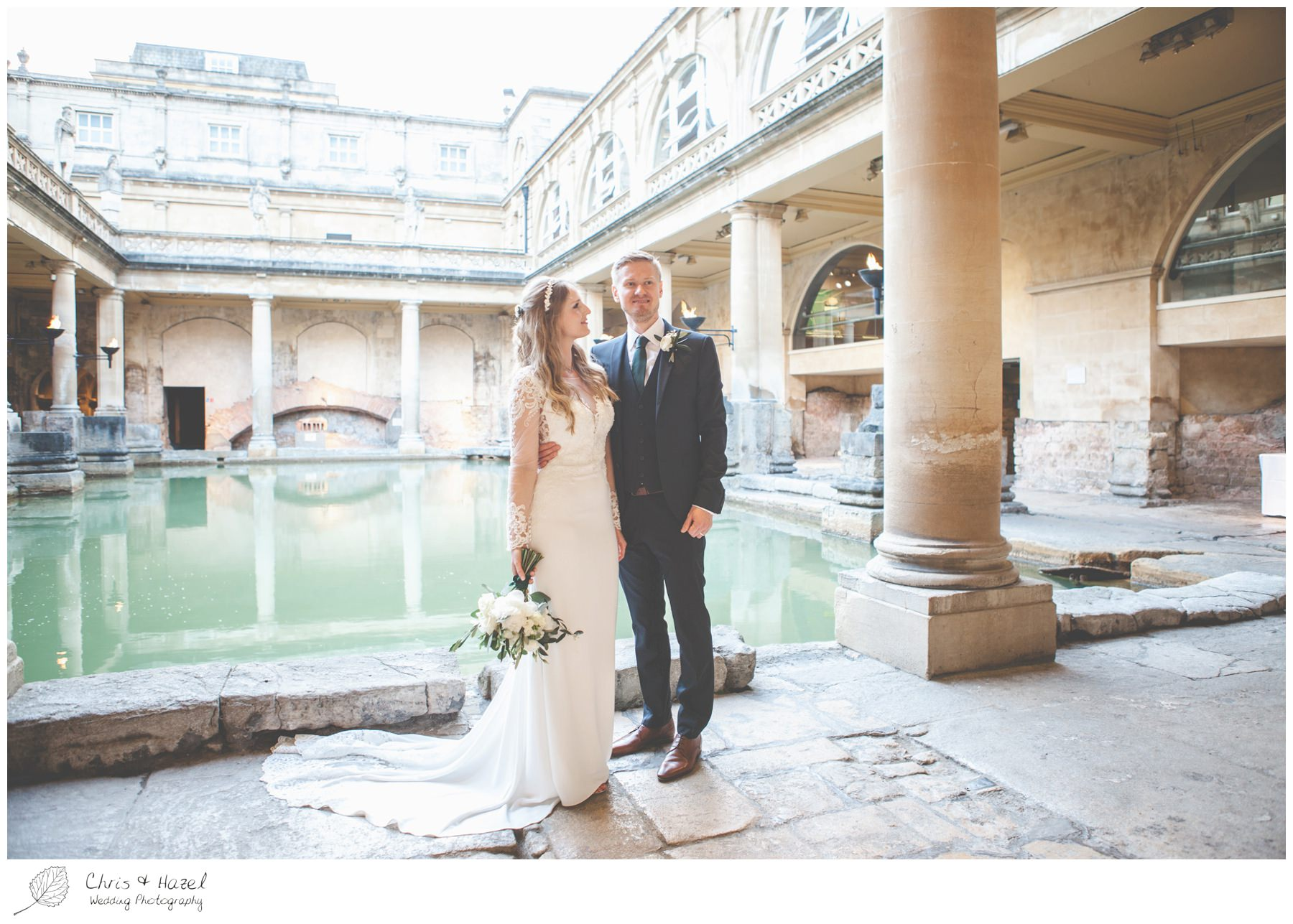 Bride and Groom portrait, bride and groom wedding photographs at Roman Baths Pump Rooms, The Roman Baths Wedding Photography, Roman Baths Wedding Photographer, Wedding in Bath, Bath Wedding Day, documentary wedding photography, Chris and Hazel Wedding Photography Bath, Andy Frost Sian Upson