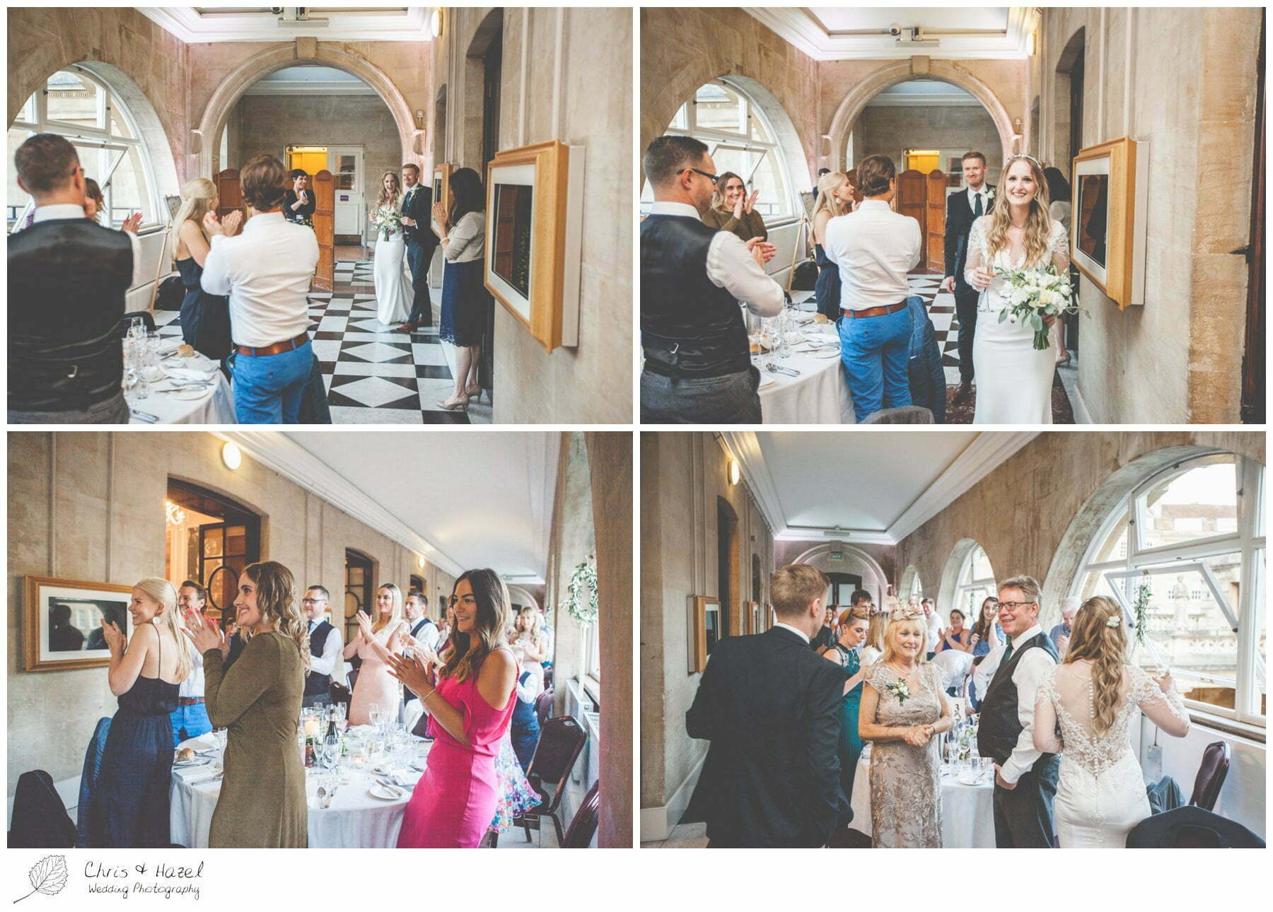 Bride and Groom enter for dinner, wedding breakfast on the terrace at Roman Baths Pump Rooms, The Roman Baths Wedding Photography, Roman Baths Wedding Photographer, Wedding in Bath, Bath Wedding Day, documentary wedding photography, Chris and Hazel Wedding Photography Bath, Andy Frost Sian Upson