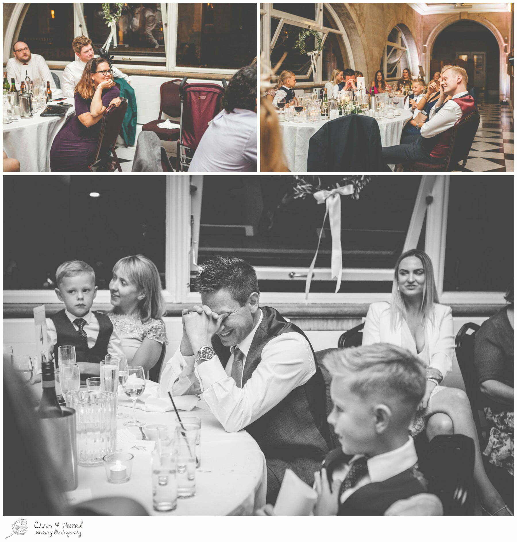 Speech reaction, Wedding speeches, wedding breakfast on the terrace at Roman Baths Pump Rooms, The Roman Baths Wedding Photography, Roman Baths Wedding Photographer, Wedding in Bath, Bath Wedding Day, documentary wedding photography, Chris and Hazel Wedding Photography Bath, Andy Frost Sian Upson