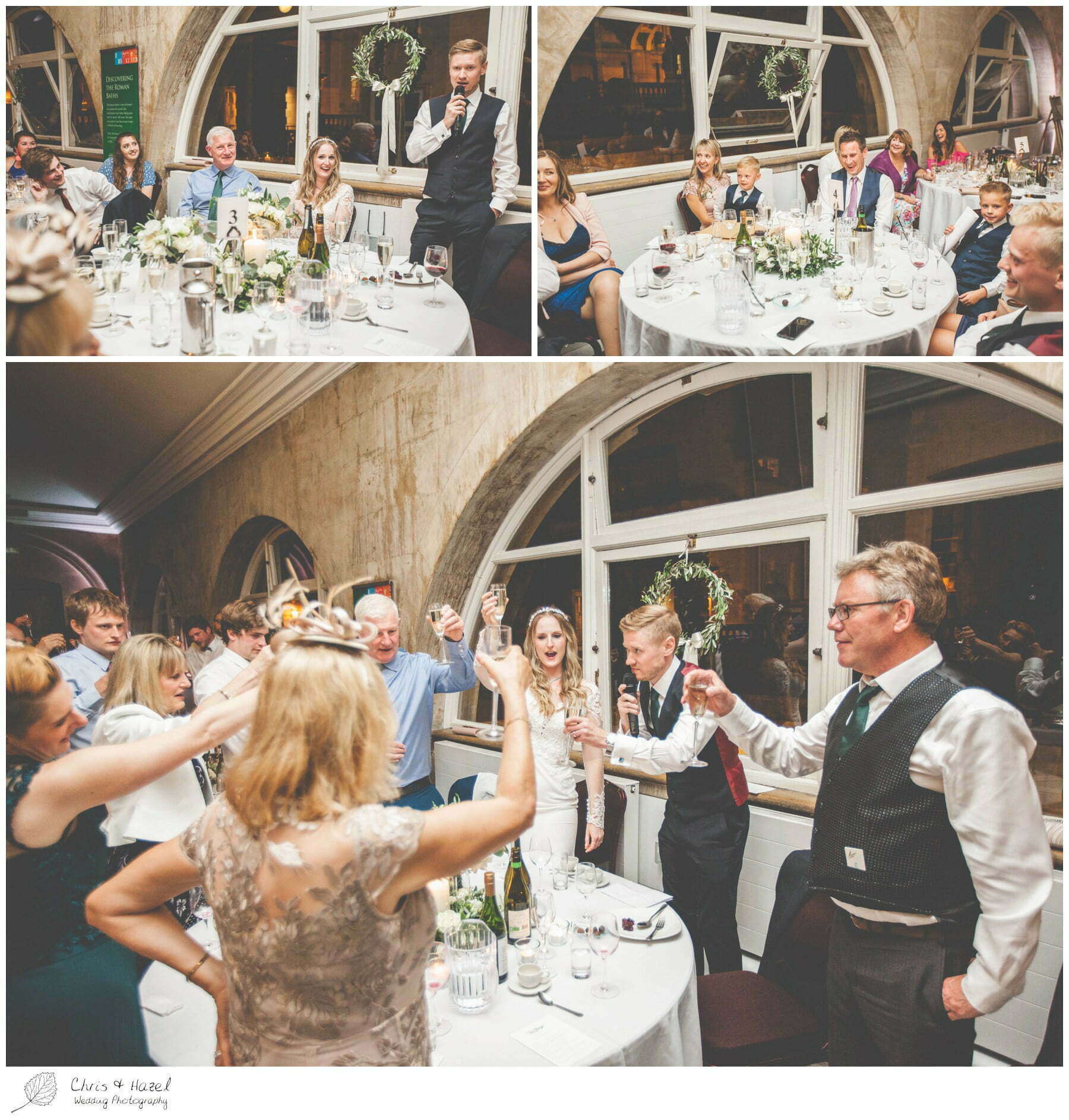 Groom wedding speech, Wedding speeches, wedding breakfast on the terrace at Roman Baths Pump Rooms, The Roman Baths Wedding Photography, Roman Baths Wedding Photographer, Wedding in Bath, Bath Wedding Day, documentary wedding photography, Chris and Hazel Wedding Photography Bath, Andy Frost Sian Upson