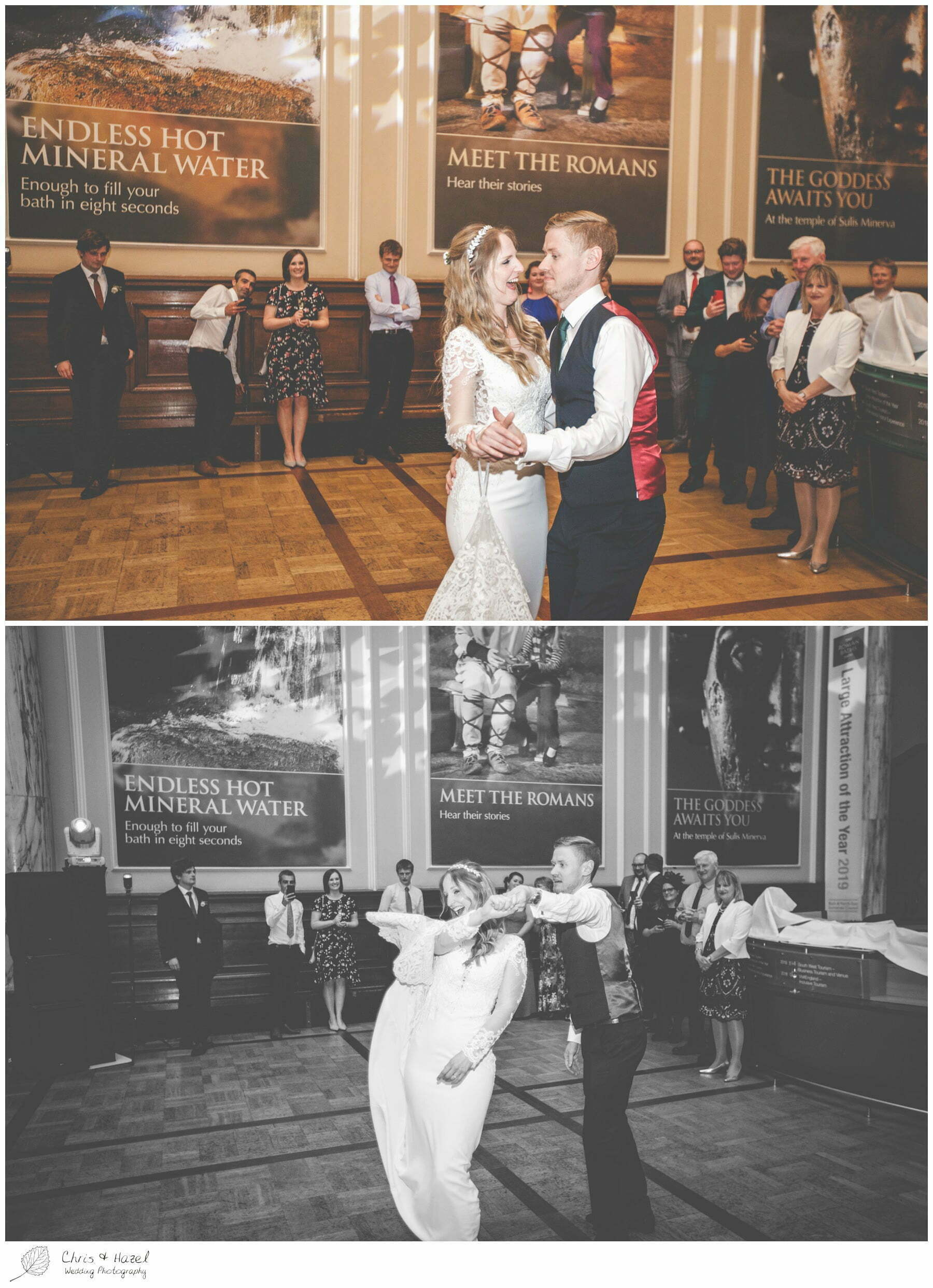 Bride and groom first dance, wedding reception ball room at Roman Baths Pump Rooms, The Roman Baths Wedding Photography, Roman Baths Wedding Photographer, Wedding in Bath, Bath Wedding Day, documentary wedding photography, Chris and Hazel Wedding Photography Bath, Andy Frost Sian Upson