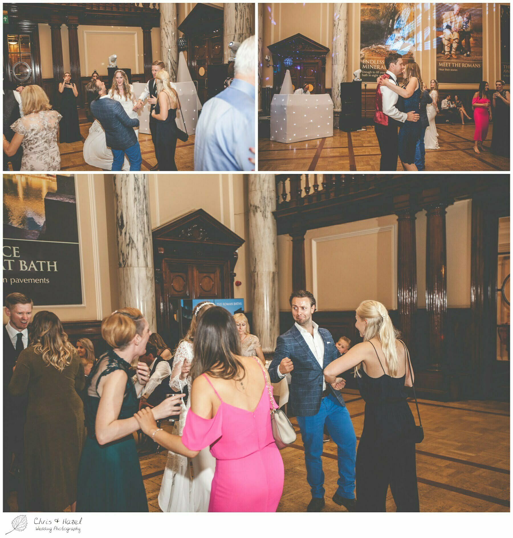 Guests dancing, wedding reception ball room at Roman Baths Pump Rooms, The Roman Baths Wedding Photography, Roman Baths Wedding Photographer, Wedding in Bath, Bath Wedding Day, documentary wedding photography, Chris and Hazel Wedding Photography Bath, Andy Frost Sian Upson