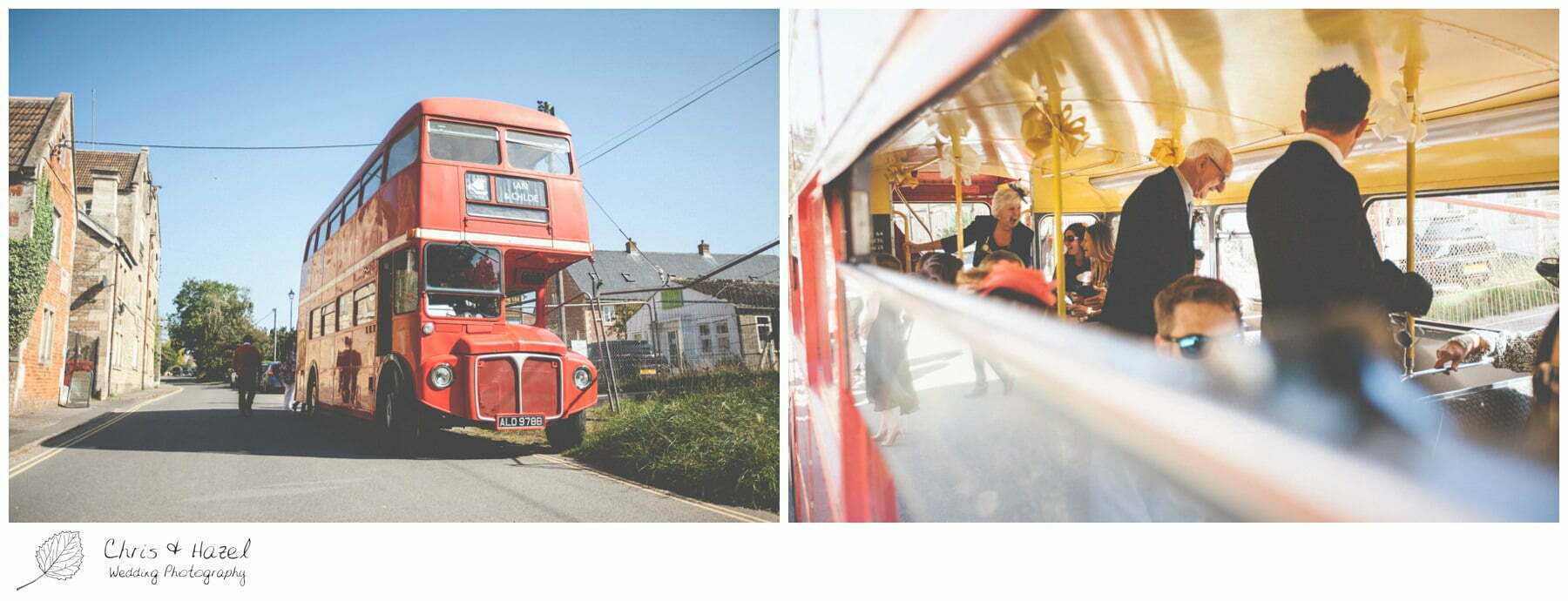 Wedding Bus, Retro Wedding Bus, London style Wedding Bus, The Glove Factory Wedding Photography, Wiltshire Wedding Photographer Trowbridge, Chris and Hazel Wedding Photography