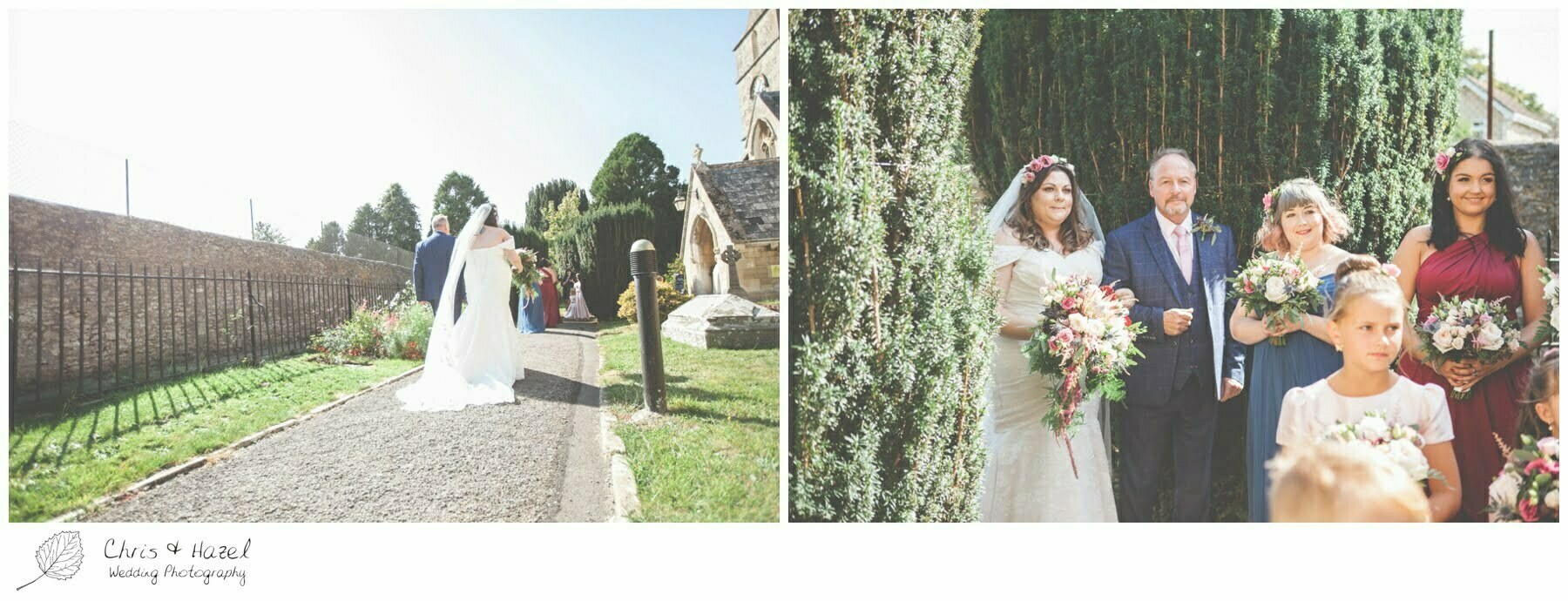 Bride arrives with Wedding guests on the way to Hilperton Church, St Michael & All Angels' Church, Wedding Photography, Wiltshire Wedding Photographer Trowbridge, Chris and Hazel Wedding Photography