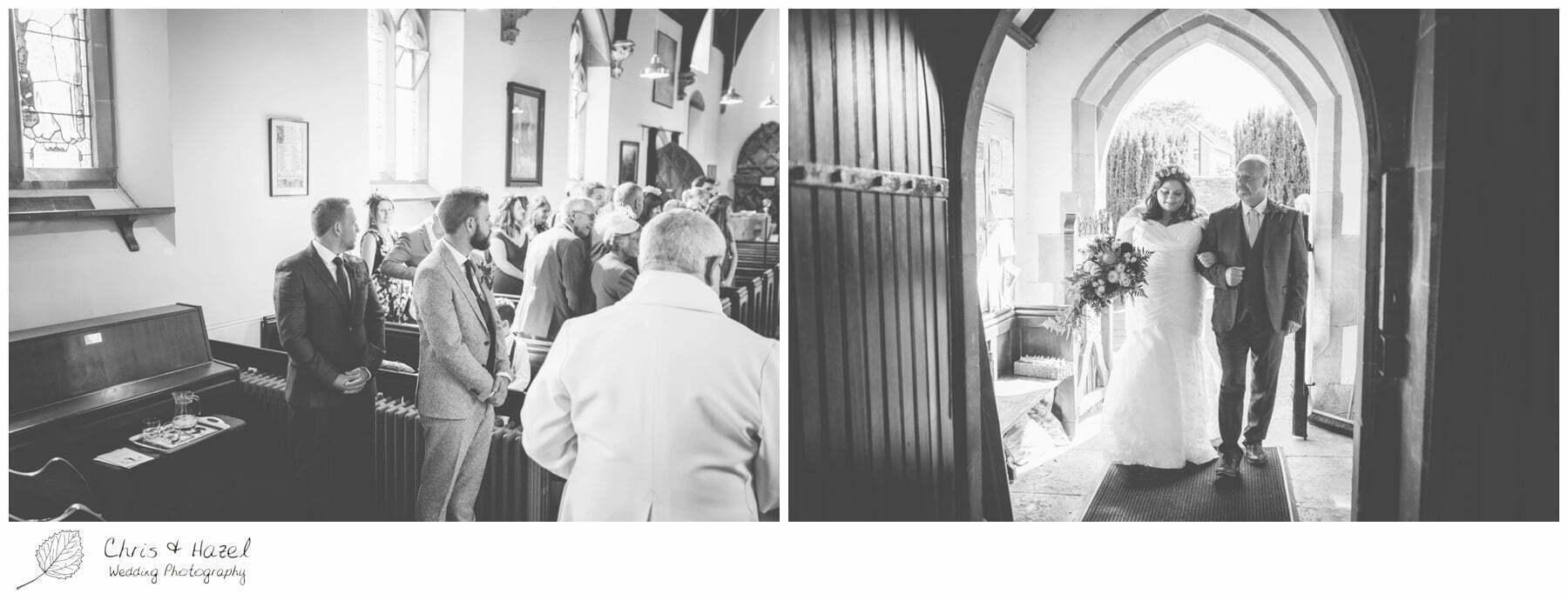 Bride entering Hilperton Church, St Michael & All Angels' Church, Wedding Photography, Wiltshire Wedding Photographer Trowbridge, Chris and Hazel Wedding Photography