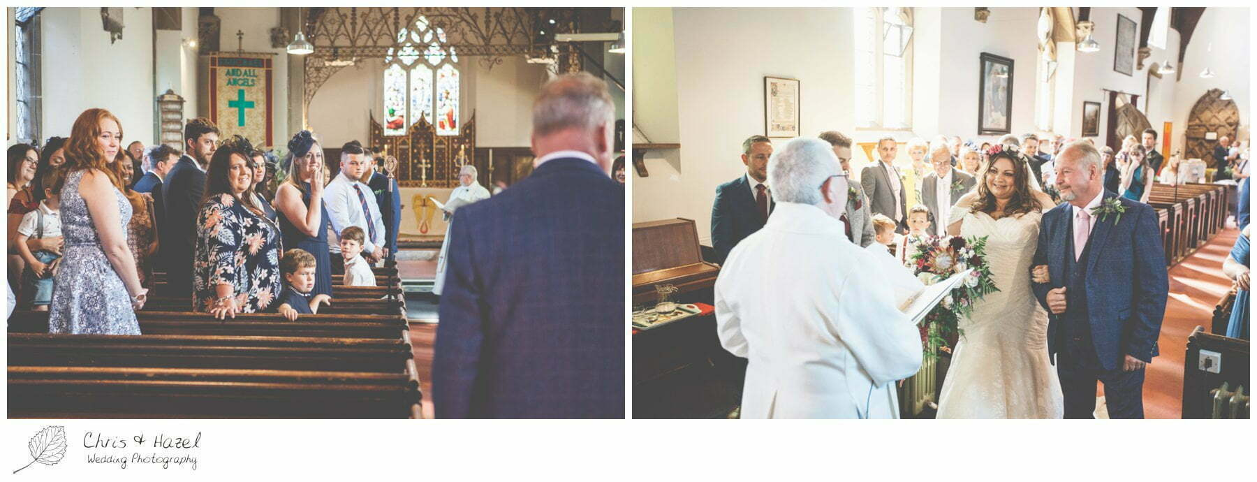 Bride walking down the aisle with father, Hilperton Church, St Michael & All Angels' Church, Wedding Photography, Wiltshire Wedding Photographer Trowbridge, Chris and Hazel Wedding Photography