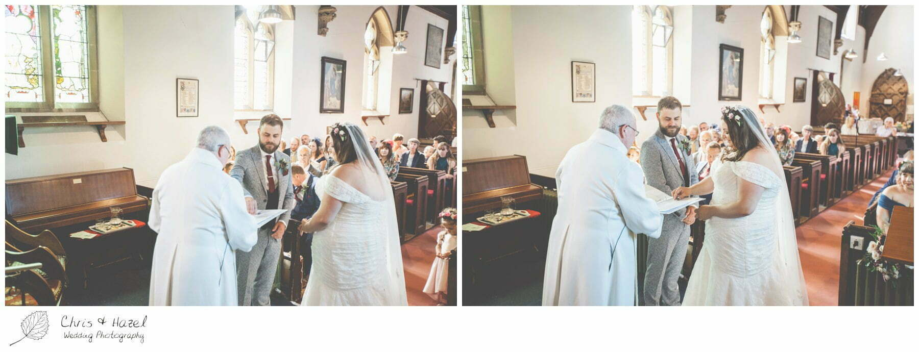 Ring Exchange, Bride and groom at altar, Hilperton Church, St Michael & All Angels' Church, Wedding Photography, Wiltshire Wedding Photographer Trowbridge, Chris and Hazel Wedding Photography
