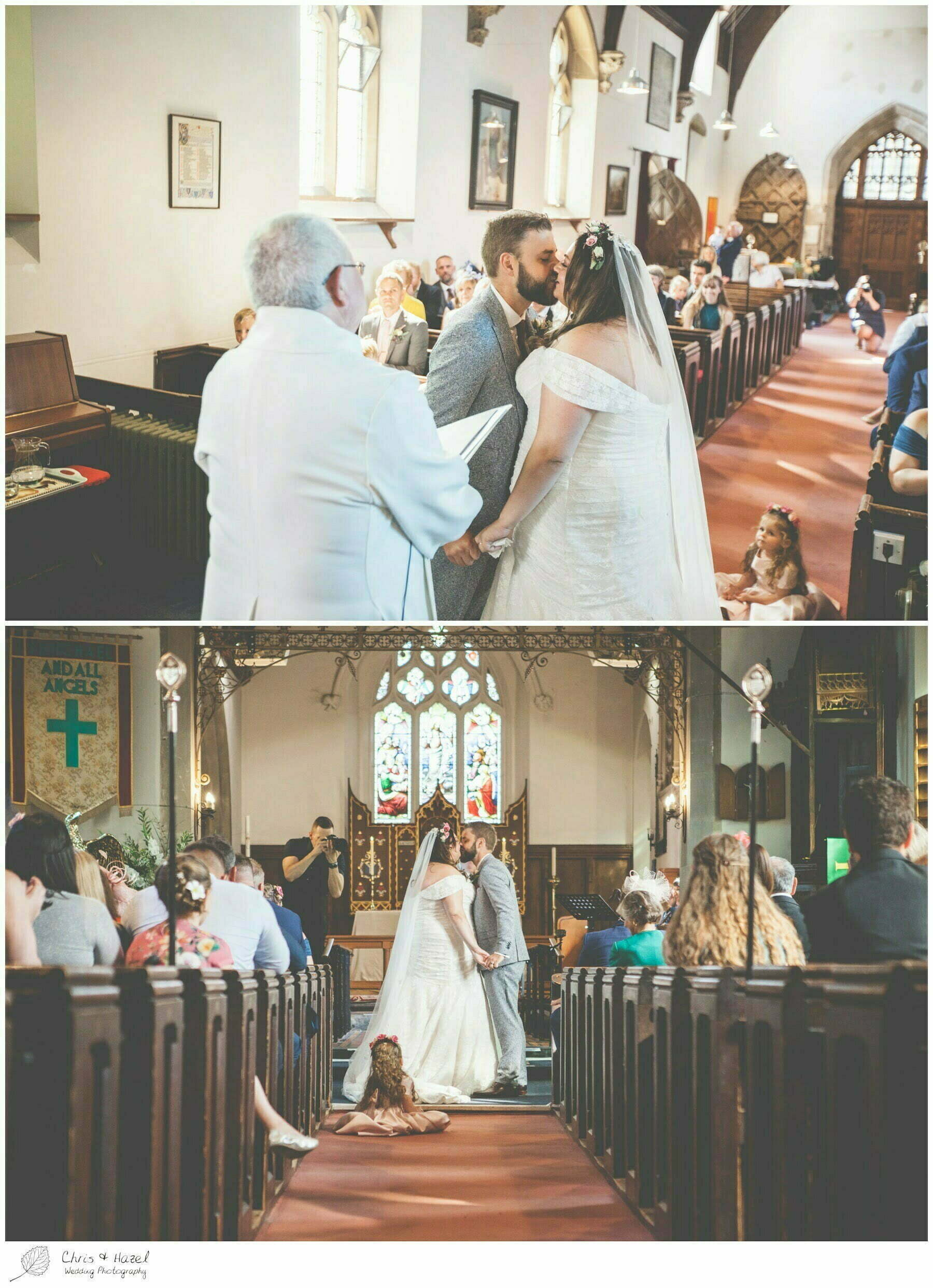 First Kiss, Bride and groom at altar, Hilperton Church, St Michael & All Angels' Church, Wedding Photography, Wiltshire Wedding Photographer Trowbridge, Chris and Hazel Wedding Photography