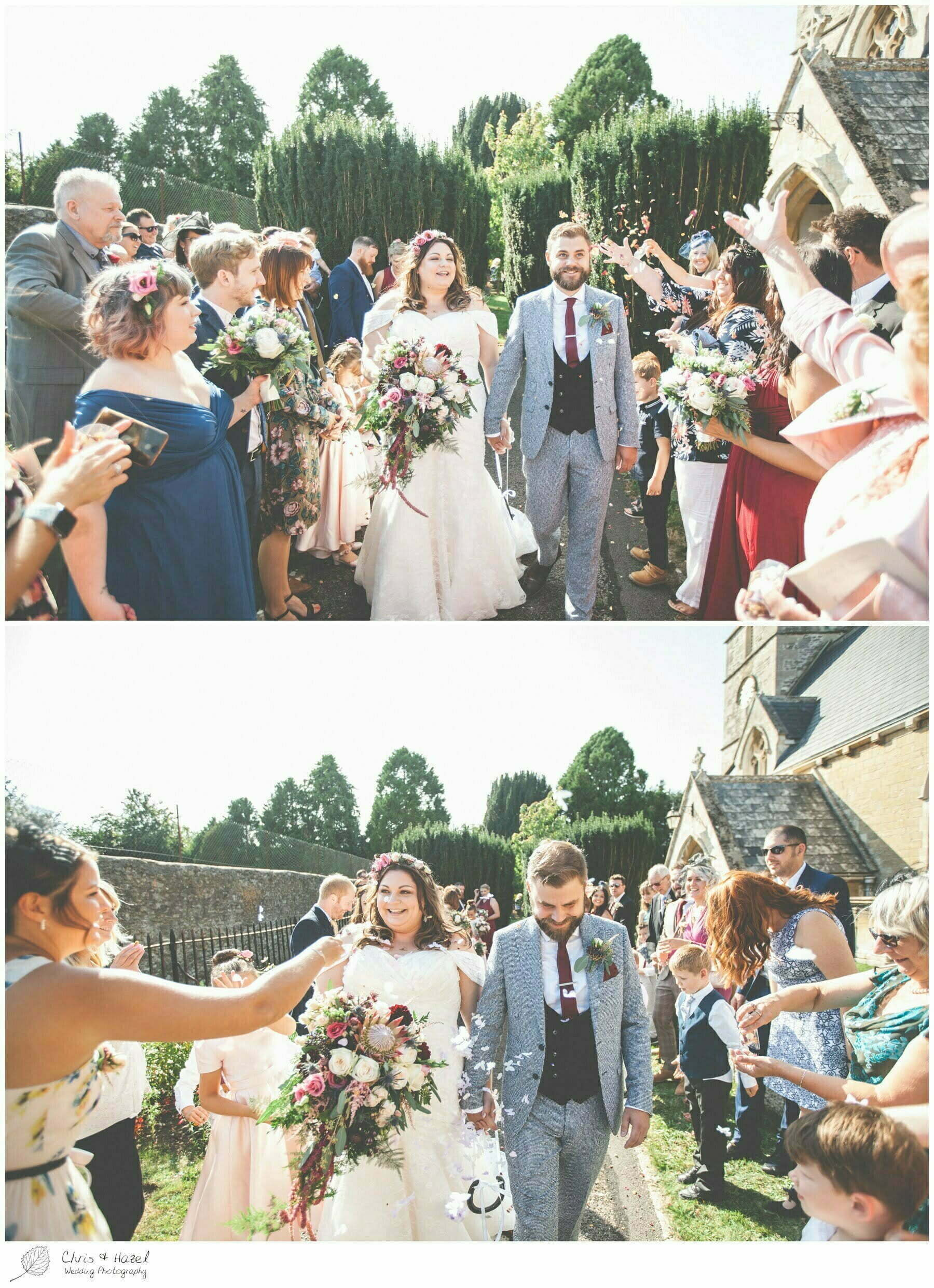 Bride and groom wedding guests confetti outside the church, Hilperton Church, St Michael & All Angels' Church, Wedding Photography, Wiltshire Wedding Photographer Trowbridge, Chris and Hazel Wedding Photography