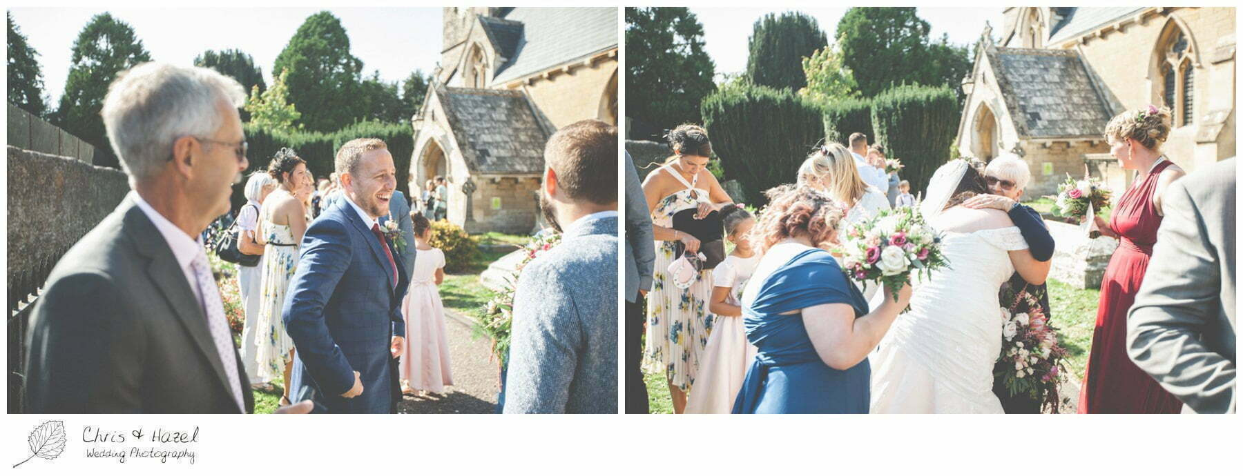 Bride and groom with wedding guests outside the church, Hilperton Church, St Michael & All Angels' Church, Wedding Photography, Wiltshire Wedding Photographer Trowbridge, Chris and Hazel Wedding Photography