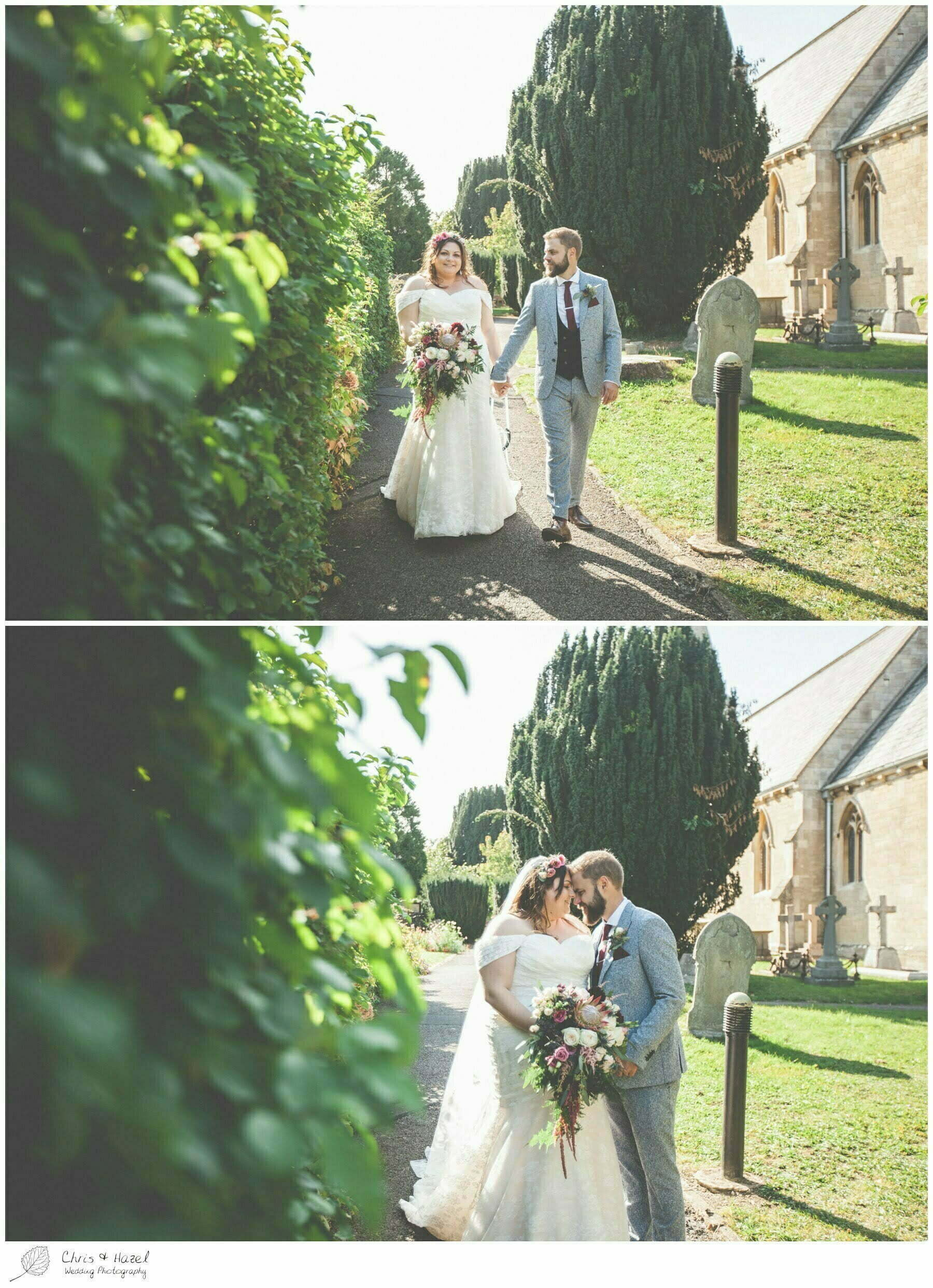 Bride and groom portraits photographs outside the church, Hilperton Church, St Michael & All Angels' Church, Wedding Photography, Wiltshire Wedding Photographer Trowbridge, Chris and Hazel Wedding Photography