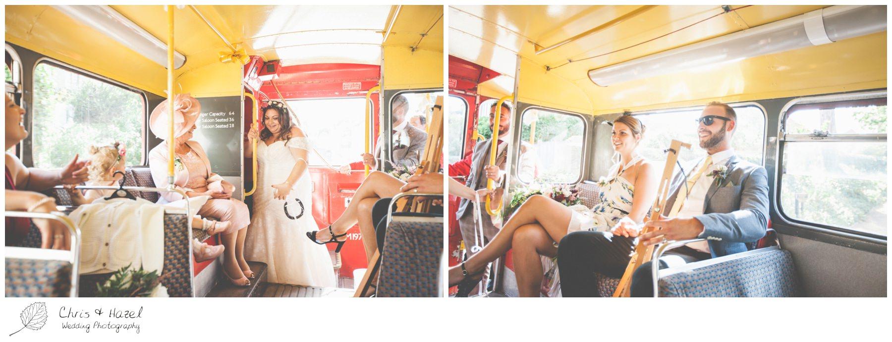 Bride on Wedding Bus, Retro Wedding Bus, London style Wedding Bus, Wedding Photography Trowbridge, Wiltshire Wedding Photographer Trowbridge, Chris and Hazel Wedding Photography