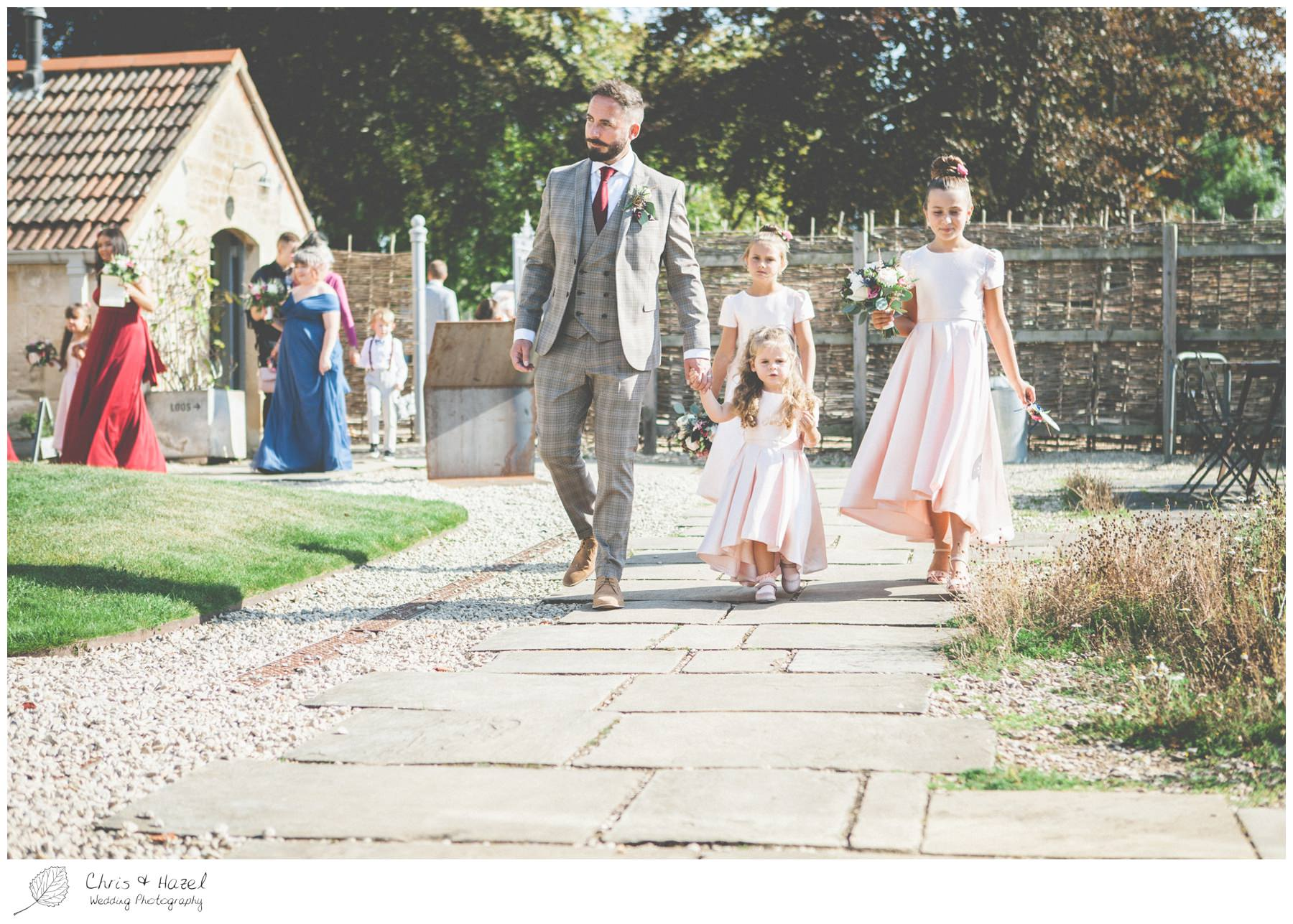 Bridesmaids flower girls outside The Glove Factory Wedding Photography, Wiltshire Wedding Photographer Trowbridge, Chris and Hazel Wedding Photography