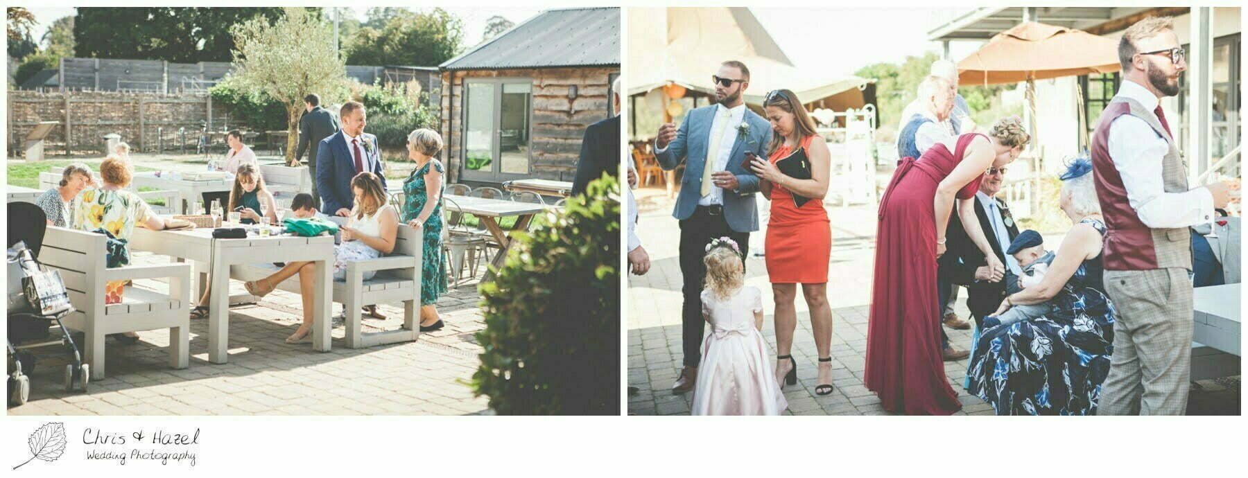 Wedding Guests outside The Glove Factory Wedding Photography, Wiltshire Wedding Photographer Trowbridge, Chris and Hazel Wedding Photography