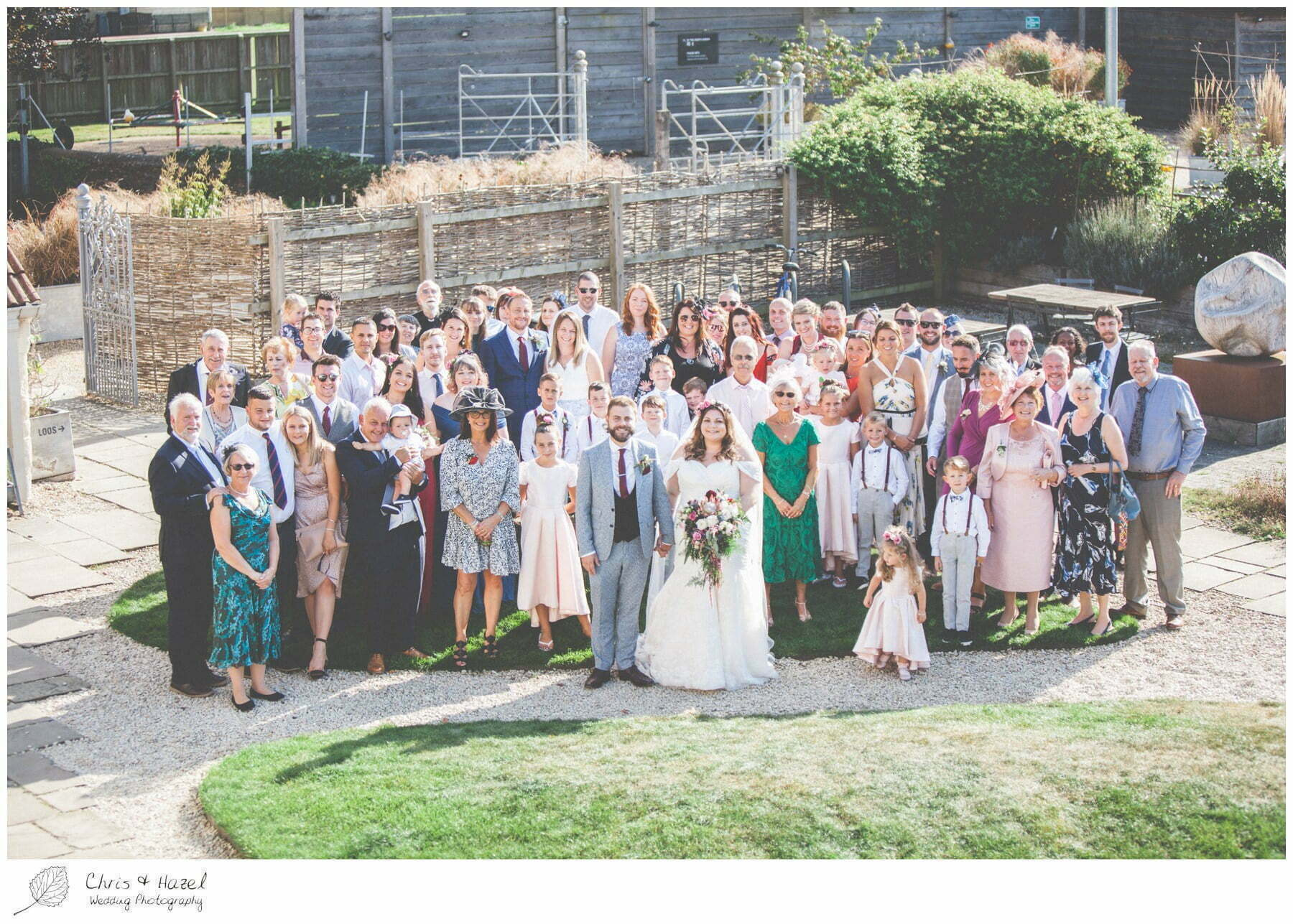 Full wedding party group formal photograph The Glove Factory Wedding Photography, Wiltshire Wedding Photographer Trowbridge, Chris and Hazel Wedding Photography