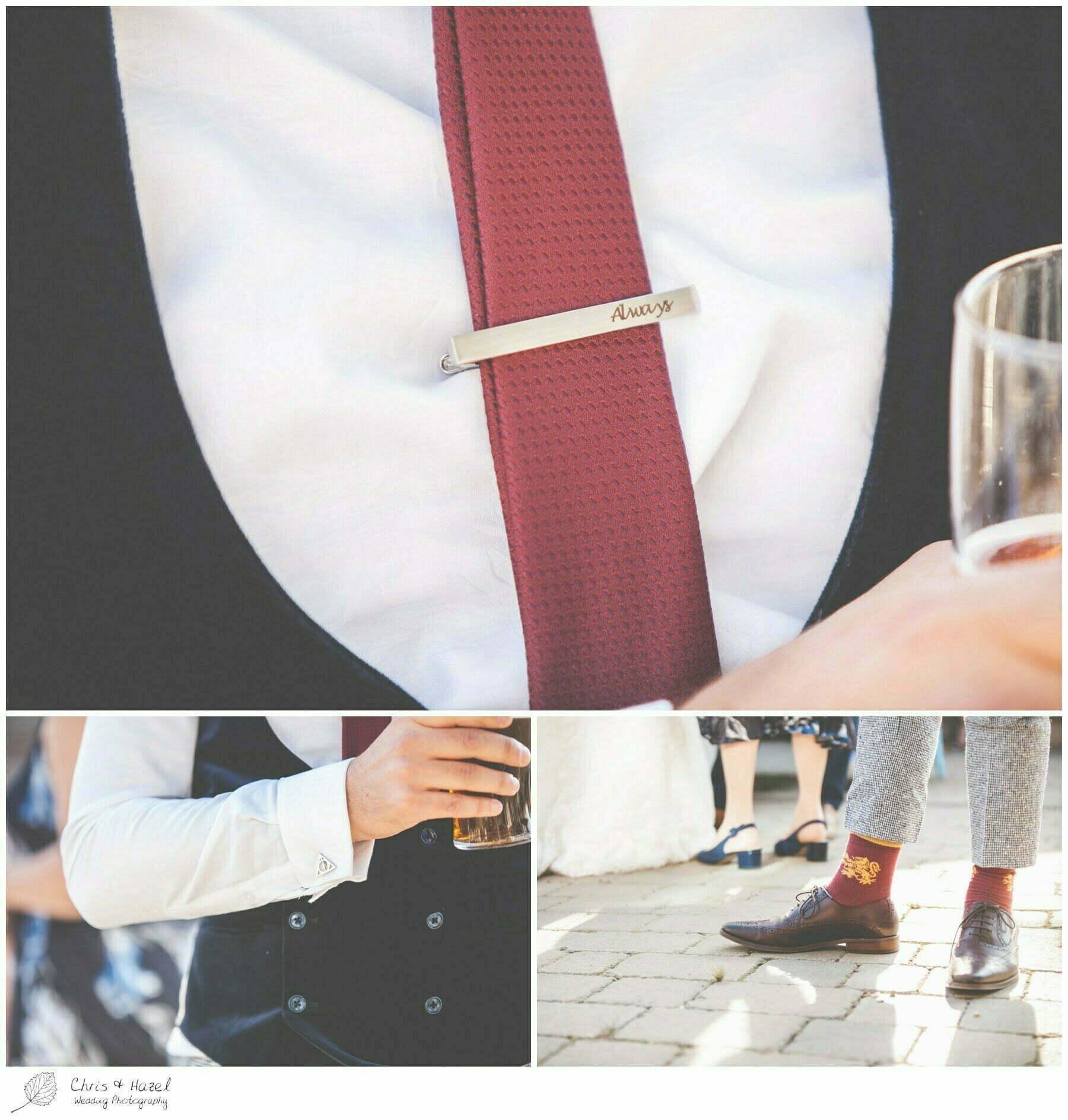 Harry potter wedding details, harry potter wedding theme, always tie pin, gryffindor socks, deathly hallows cufflinks,